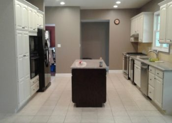 Two Toned Kitchen Cabinet Refinishing Paint